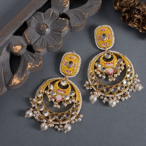 Yellow Kundan Meena Chandbali