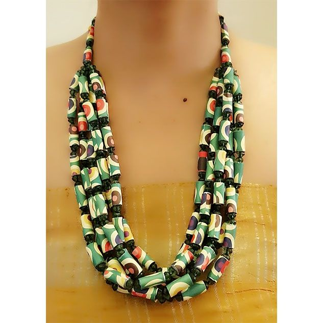 Orange and Green Paper Bead Necklace