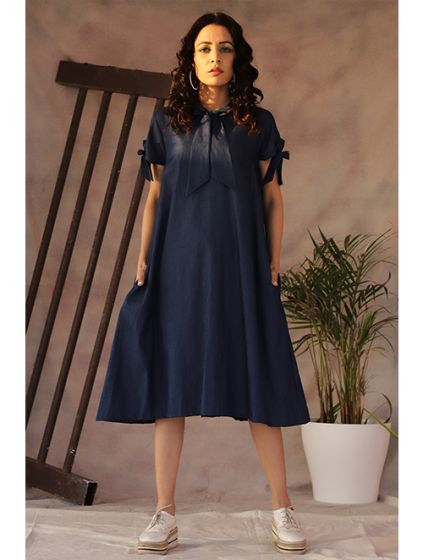 Denim Knotted A-Line Dress