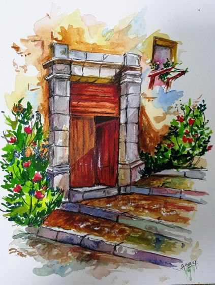 The Door Watercolour Painting