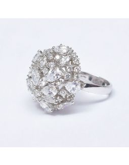 Flower Zircon Silver Ring