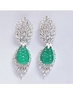 White and Green Earrings