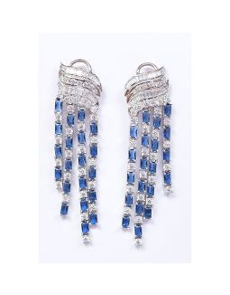 Blue and White Earrings