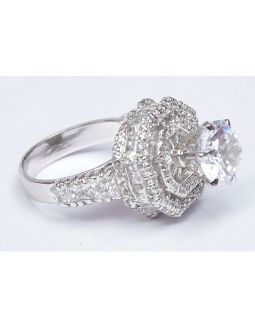 Zircon Sleek Silver Ring