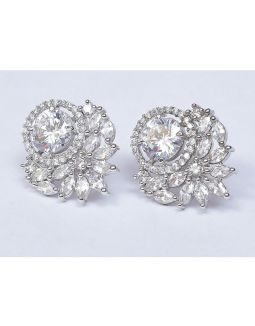 Floral Zircon Stud Earrings