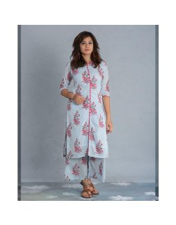 Light Blue Hand Block Printed Kurta and Palazzo