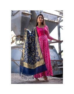 Magenta Anarkali with Blue Banarasi Dupatta