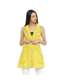 Yellow Checkered Long Top