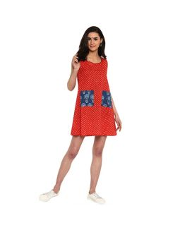Red Sleeveless Dress with Pocket