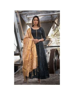 Black Anarkali with Golden Dupatta