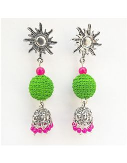 Light Green and Pink Jhumkas