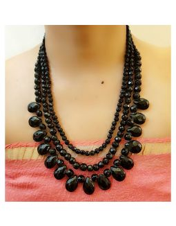 Black Glass Beads Multi-Strand Necklace