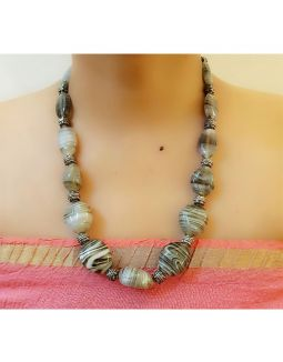 Grey Glass Beads Necklace