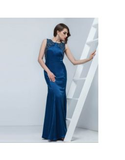 Niagara Blue Sequins Silk Satin Dress