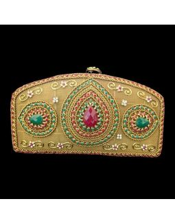 Bridal Metal Box Clutch with Kundan Work