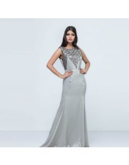 Grey Sequin Sand Wash Satin Long Dress