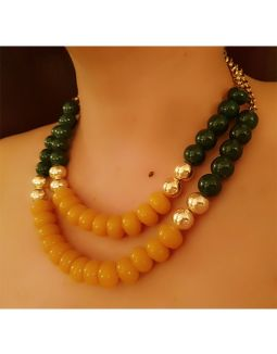 Green and Yellow Two Layer Necklace