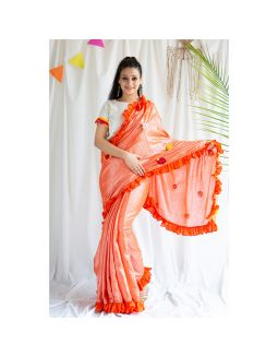 Orange Frilled Shimmer Saree