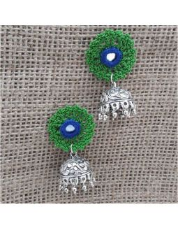 Crochet Mirror Studded Jhumkas
