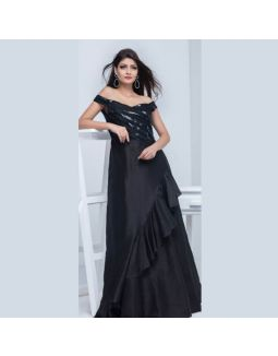 Black Taffeta Sequins off Shoulder Long Gown