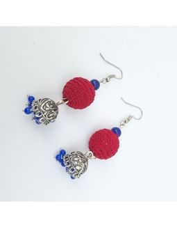 Blue and Red Jhumkas
