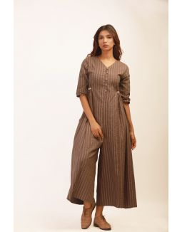 Brown Flared Jumpsuit