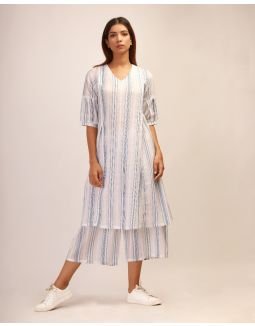 White- Blue Striped Kurta Set