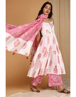 White and Pink Block Printed suit set