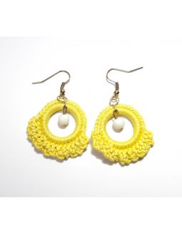 Ruffle Ring Yellow Earring