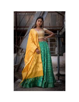 Green Banarasi Lehenga Set with Dupatta