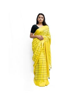 Yellow Checked Saree