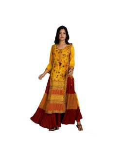Yellow And Maroon Embroidered Kurti