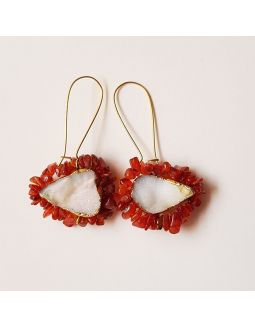 White and Red Stone Earrings
