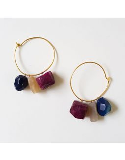 Multicolor Stone Loop Earrings