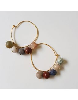 Multi Round Stone Hoop Earrings