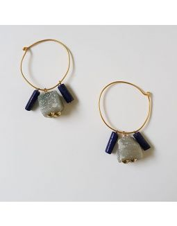 Jade and Lapis Loop Earrings