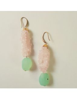 Pink and Green Stone Earrings