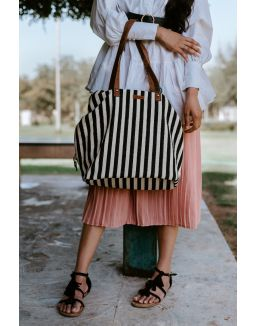 Black And White Stripes Three Pocket Jacquard Bag