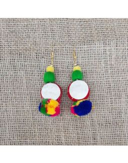 Mirror Pompom Earrings