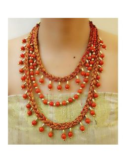 Orange Bead Multilayer Necklace