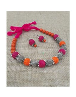 Crochet Pink and Orange Silver Necklace