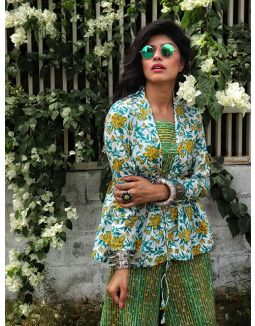 Green Jumpsuit with Floral Printed Jacket