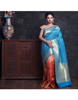 Sky Blue And Red Blended Zari Border Saree