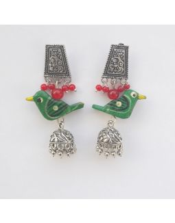 Green Bird Jhumka Earrings