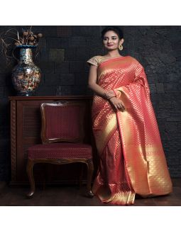 Peach Pink Woven Zari Border Saree