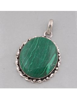 Synthetic Malachite Alloy Pendant