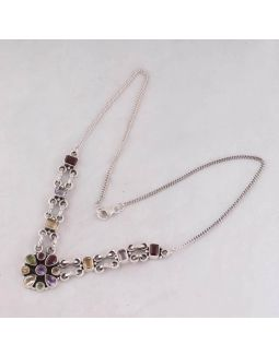 Red Garnet Citrine Silver Necklace