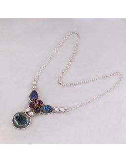 Druzy Pearl Silver Necklace