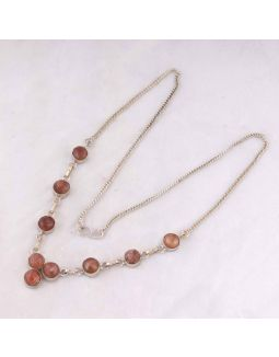 Peach Moonstone Silver Necklace