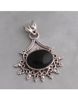 Antique Black Onyx Silver Pendant